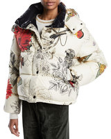 Latest Winter Women Casual White Floral-Print Puffer Jacket Coat with Removable Hood