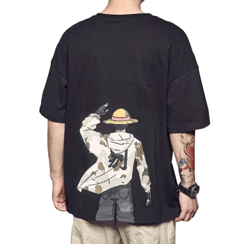 China Factory OEM Logo High Quality Men's Cotton Printing Custom Cartoon One Piece T shirt