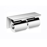 Factory Price Bathroom Accessories Stainless Steel Double 304 Toilet Paper Holder with Mobile Phone Shelf