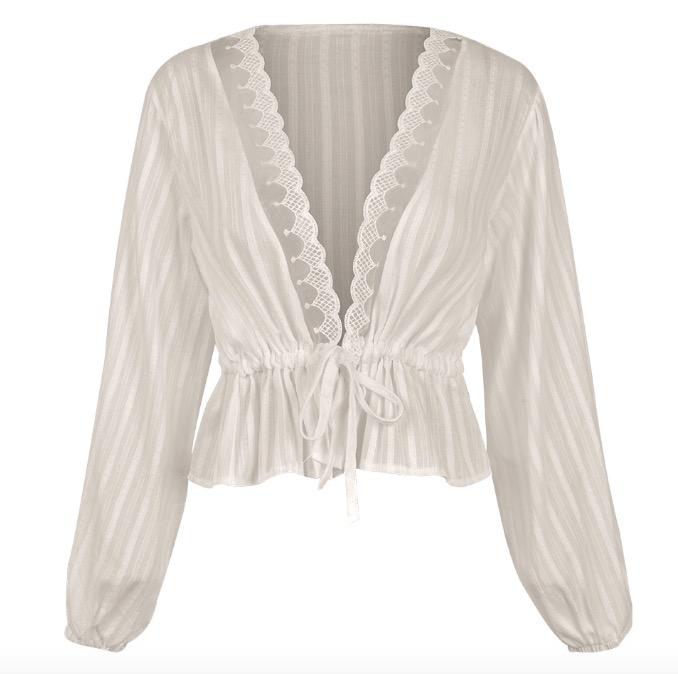 Venta al por mayor blusas blancas transparentes Compre