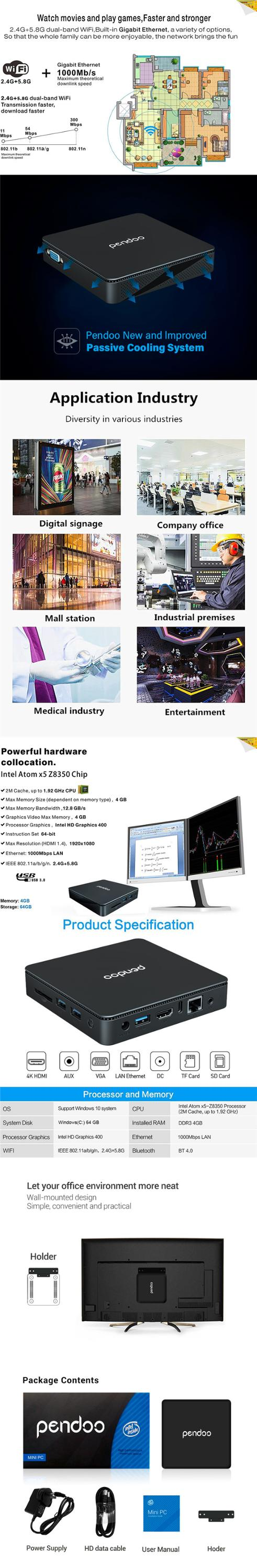 pendoo TX85 Mini PC z8350 4GB DDR4 RAM 64GB ROM 5G WiFi BT 4.0 1000M LAN set top box