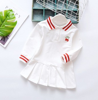 Girl One piece Polo Dress 2-6T Kid Girl Pink/White Turn Down Collar Pleated Dress Long Sleeve Cotton Cherry Student Dress