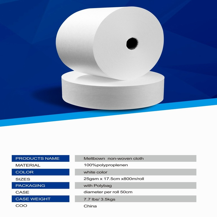 Guangzhou Hasen factory produce  meltblown non-woven cloth in roll 100% PP BFE.>99 %, hot sell and the best price