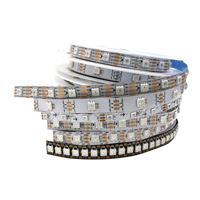 5v 12v 5050  ws2811 rgb dmx512 144 led strip ws2812 controller 5m per roll flexible addressable rgbw ws2812b led strip