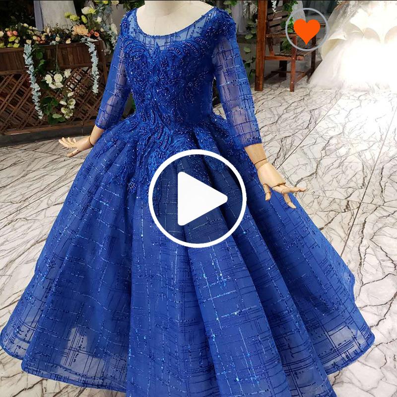 HTL0522 Jancember 長袖ブルーヘビーアップリケキッズイブニングドレスの花子供ボールガウン