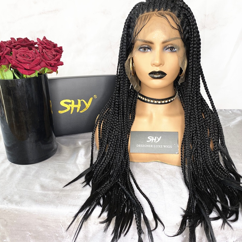 New Arrival 180% Density <strong>Synthetic</strong> Hair <strong>Full</strong> Braid <strong>Wig</strong> 13*3 <strong>Lace</strong> Front <strong>Wig</strong> Long Length Hair