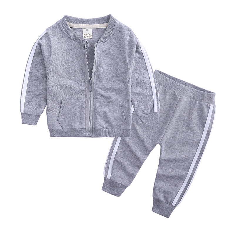 ホット販売最新のスタイル卸売綿長袖ジッパー無地 2 個幼児キッズボーイズ新生児服バルク