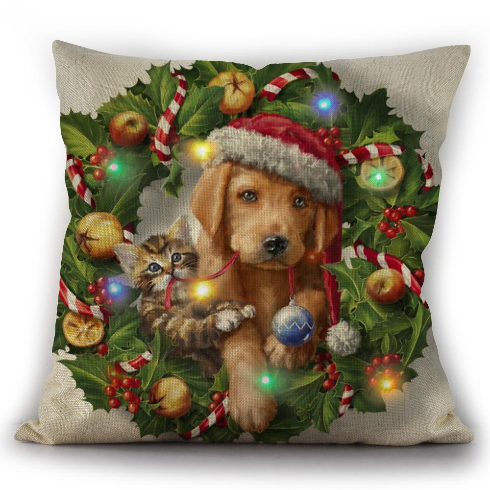3D Digital Printed  LED Light Christmas Decorative Cushion  cover for christmas