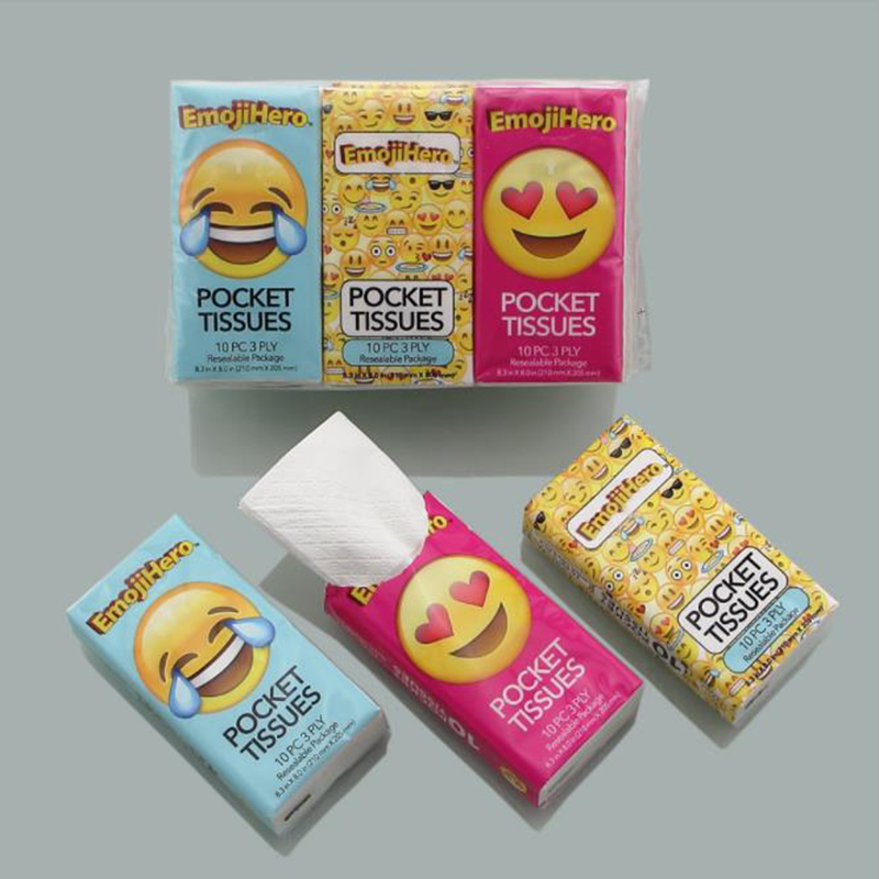Customized printed pocket tissue advertising 2 ply facial tissue packet pack