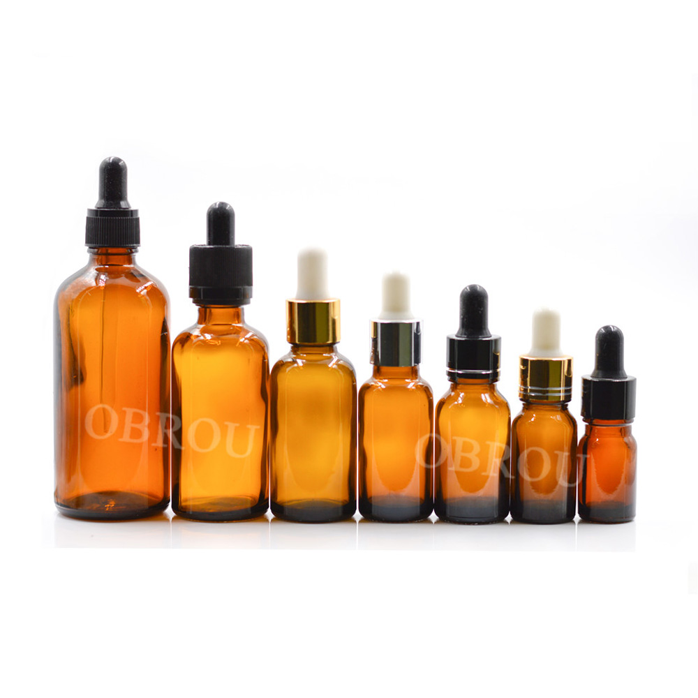 Essential oil Dropper bottle 10ml 15ml 30ml 50ml 100ml amber glass e juice liquid bottle with screw dropper cap