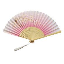 Традиционные китайские вееры ручной работы, бумажные веера, бамбуковые складные вееры, ручной складной веер для церкви, свадьбы, украшения ...(China)