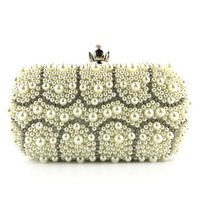 Pearl beaded evening dress bag bridal wedding tote party wallet clutch