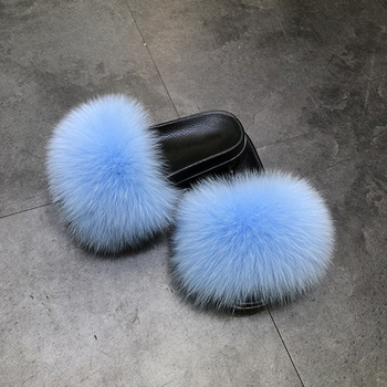 kids fur slippers real fox slides new fashion ladies fox fur slippers high quality slippers fur