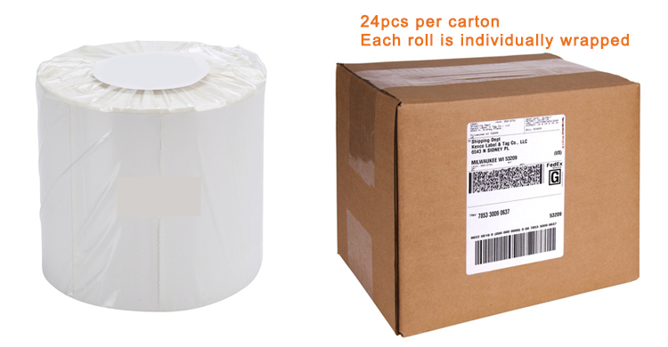 Coditeck blank 4X6 inch Direct thermal shipping label paper for Zebra 2844 ZP450 printer 350/roll 1inch core