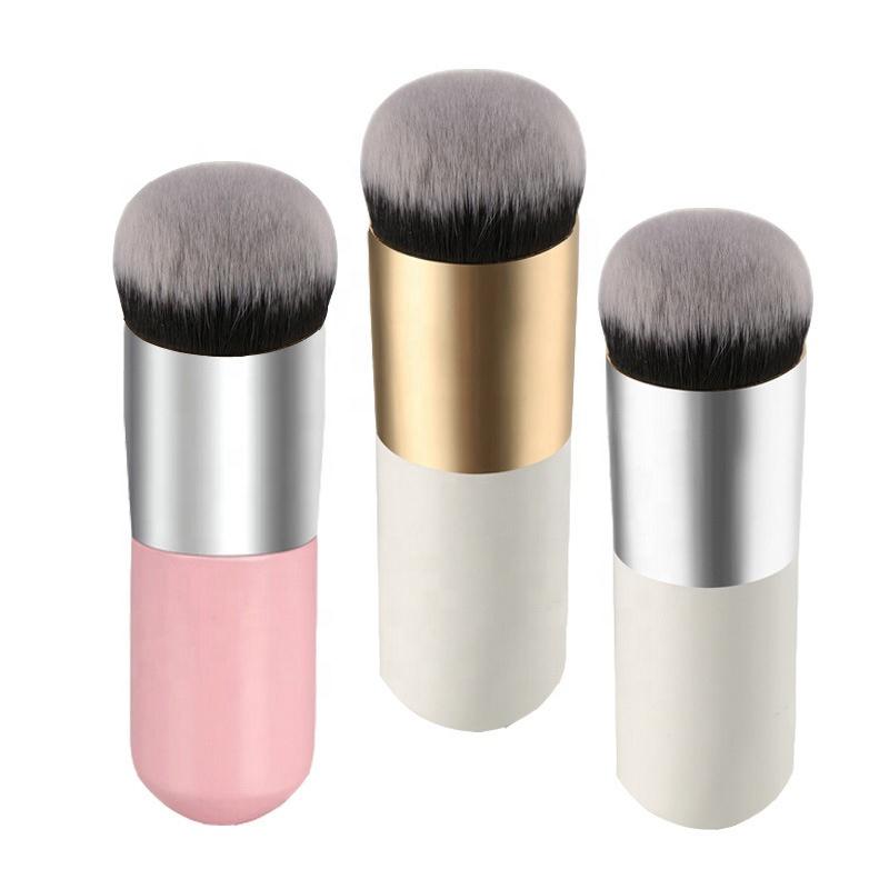 Özel logo fondöten makyaj fırçaları aracı kozmetik düz kafa fondöten fırça özel etiket