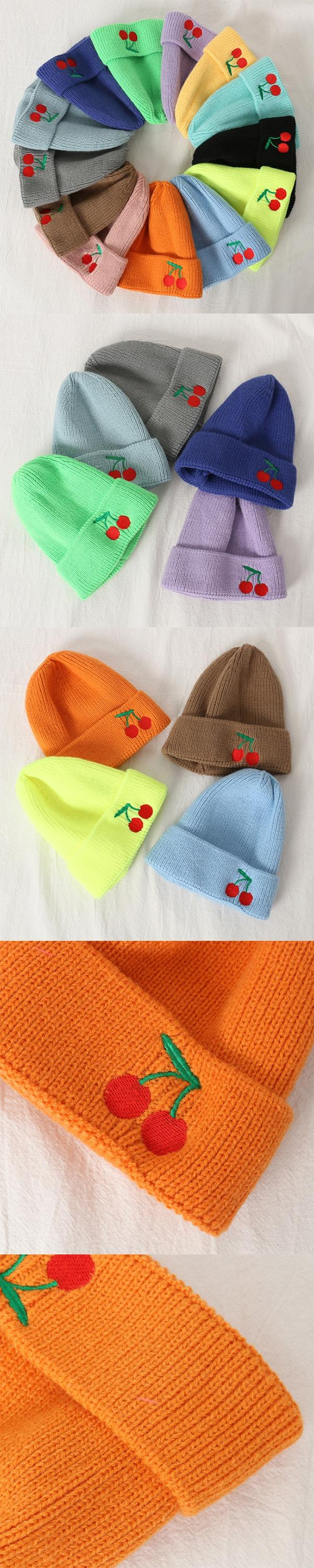 Stock Kids Women Men Cherry Fruits Embroidered Winter Beanie Cap - Multiple Colors