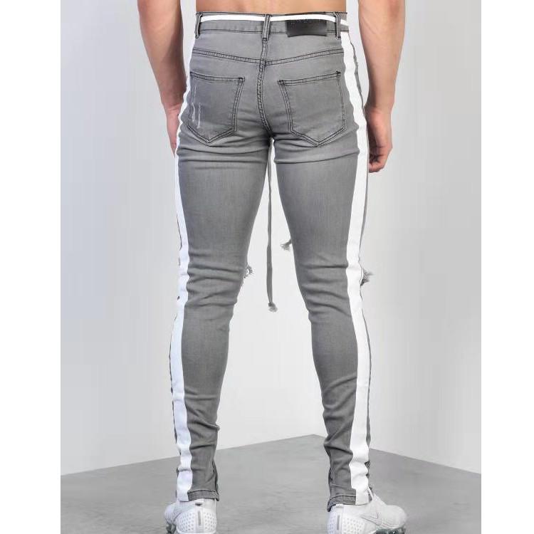 Free Shipping Moda Streetwear Hombres S Jeans Gris Skinny Hombre Rasgado Pantalones Vaqueros Con Cinta Lateral Homme Hip Hop Buy Destroyed Skinny Jeans Mens Skinny Jeans Ripped Slim Stretch Denim Mens Skinny Jeans