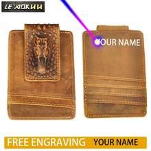 Мужской качественный кожаный дорожный тонкий бумажник Rfid с передним карманом и магнитным зажимом для денег, мини-чехол для кредитных карт, ...(Китай)