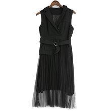 Женское платье-жилет EAM, белое свободное платье-жилет с отворотом, без рукавов, с плиссированными кнопками и сеточкой, весна-лето 2020(Китай)