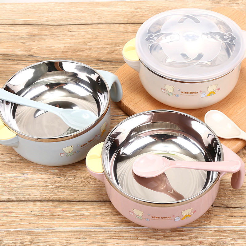 Eco-friendly Baby Feeding Stainless Steel Kids Insulation Eating Bowl With Handle