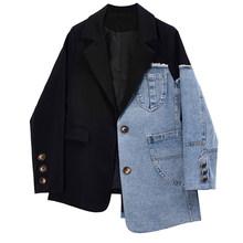 [EAM] женский черный Джинсовый блейзер с асимметричной строчкой, новая свободная куртка с отворотом и длинным рукавом, модная демисезонная ку...(Китай)