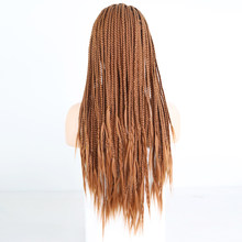 RONGDUOYI пепельный блондин термостойкие волокна волос плетеный синтетический парик фронта шнурка черные длинные косы парики для женщин с детс...(Китай)