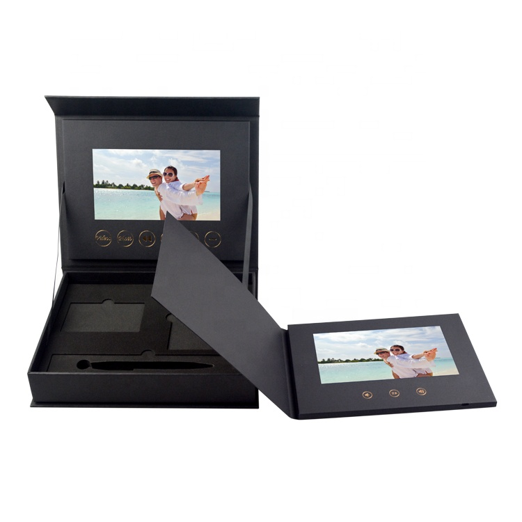 Factory price customized black 7 inch LCD screen greeting video gift box jewelry ring box for advertising business marketing
