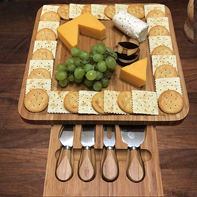 Kitchen-Utensils-Bamboo-Cheese-Board-With-Knife