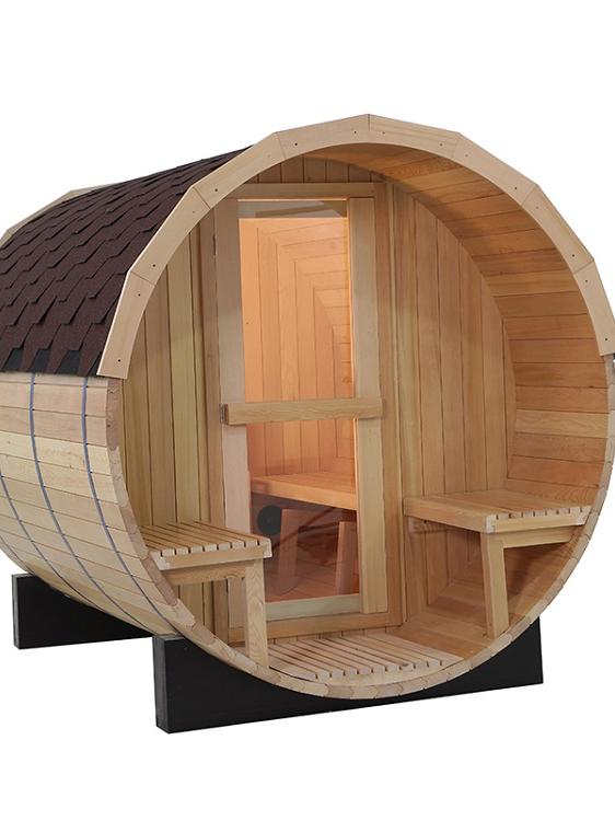2020 popular hot sale Sauna outdoor barrel  Solid wood Hemlock/Red cedar wooden sauna wet steam traditional sauna room