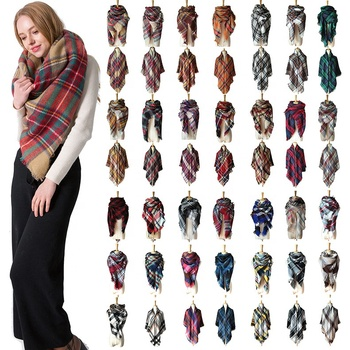 Wholesale winter fashion colorful plaid tartan scarf for women winter warm square cashmere 140x140 shawls