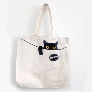 Natural Color Canvas Handle Tote Bags Cute Black Cat Leisure Lady Shopping Bag New Arrival