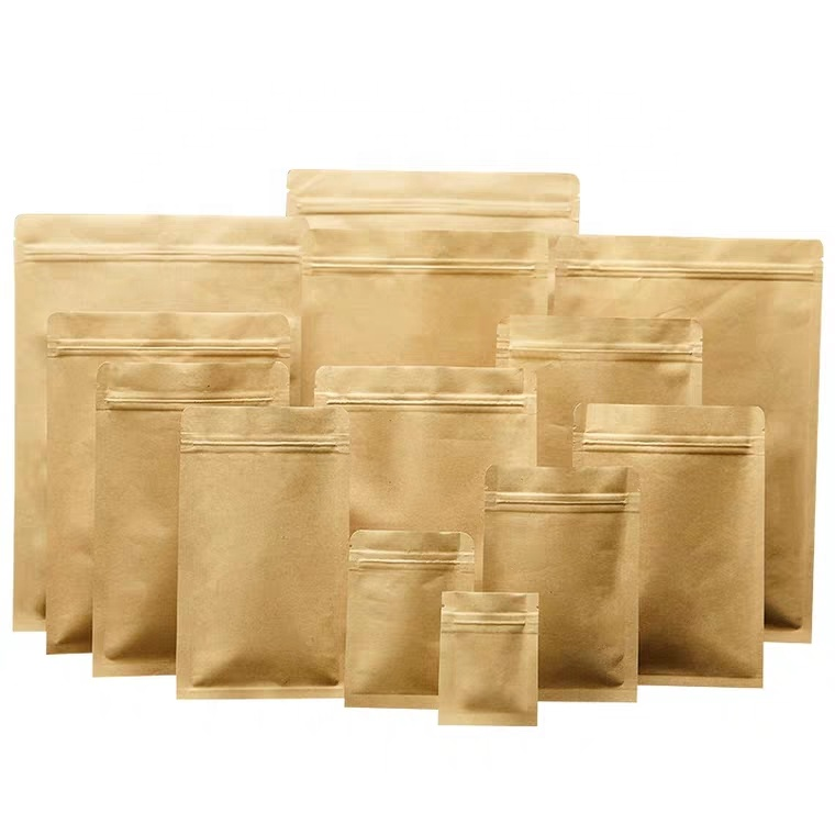 Food Grade Natural Kraft Paper Aluminum Foil Lined 3 Side Seal Mylar Flat Zipper Bags