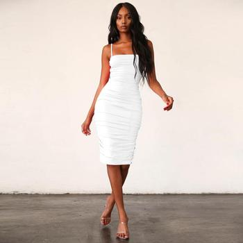 Hot Sale New Sexy Off Shoulder Sleeveless Spegatti Strap Women Fashion Knee Length Lady Sexy Fashion Girls Dress