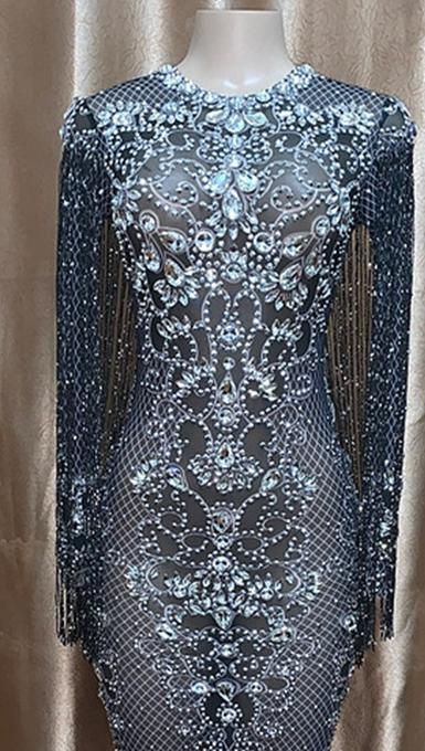 Lüks tasarım parlayan elmas süslenmiş zarif uzun resmi elbise sıkı gece elbisesi sıcak seksi kadın giyim sahne giyim