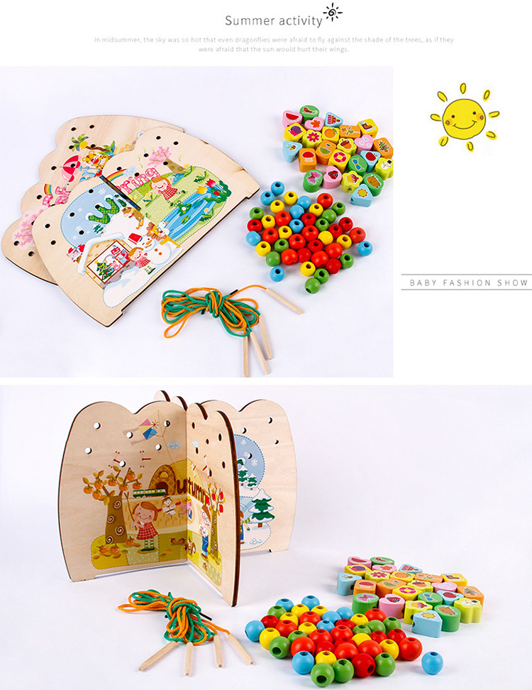 Wooden 3D Book Lacing Stringing Beads Toys Board Custom Montessori Game Educational Toy for Kids