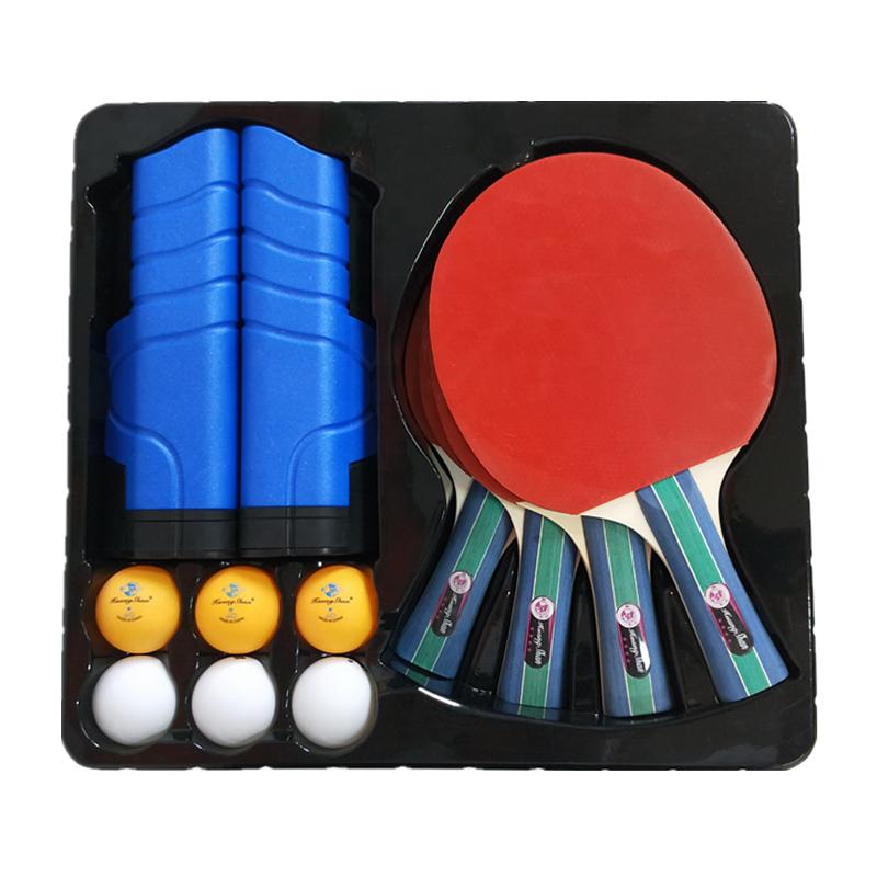 Bon marché ensemble de ping-pong 4 raquette 6 boules avec 1 filet Rétractable avec 1 Étui Portable ping pong ensemble de pagaie raquette de tennis de table ensemble