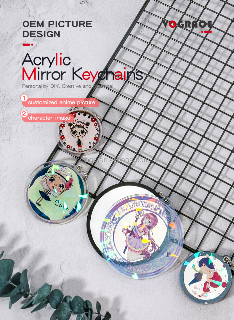 VOGRACE Custom Clear Anime Girl Printed Holographic Acrylic Keychain Mirror Charms