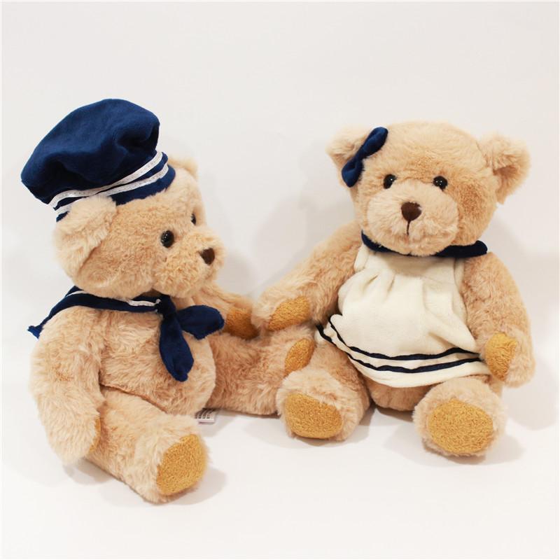 Wholesale quality  super soft navy couple bear  plush toy