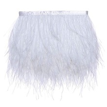 Sneeuw Wit <span class=keywords><strong>Struisvogel</strong></span> Fringe Trim Feather Carnaval Levering