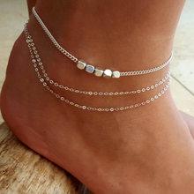 Простые Женские ножные браслеты, повседневный/спортивный Золотой Серебряный цвет цепочка женский ювелирный браслет на лодыжку(Китай)