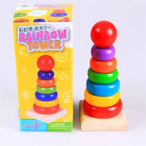 Age 3+ Multicolor Mini Rainbow Tower Toy Children Educational Rainbow Wooden Building Block