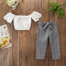 Sommer 2019 <span class=keywords><strong>Mädchen</strong></span> Kleidung set Mode Kid Off Schulter Top T shirt + Plaid Hosen <span class=keywords><strong>Mädchen</strong></span> Outfits sommer baby Kleidung set