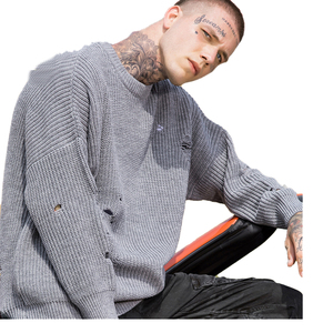 Wholesale Men's autumn and winter knitwear men's hip-hop loose couple OVERSIZE popular logo ripped sweater