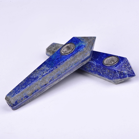 Wholesale Natural Lapis Lazuli Quartz Crystal Reiki Crystal Wand Smoking Pipes