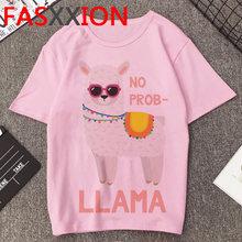 Женская футболка с принтом No Prob Llama, летняя футболка большого размера плюс с принтом Kawaii, Llama(China)