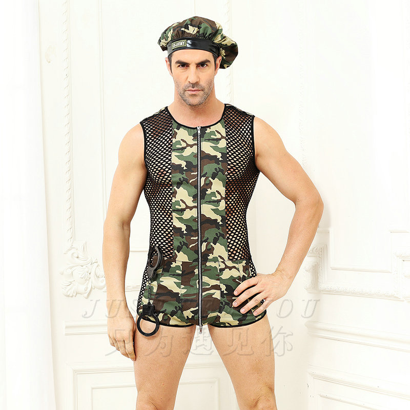 Underwear Bodysuit for Male Leopard Printing Camouflage Uniform Sexy Costumes Erotic Role Play Cosplay Sexy Men's Lingerie Set