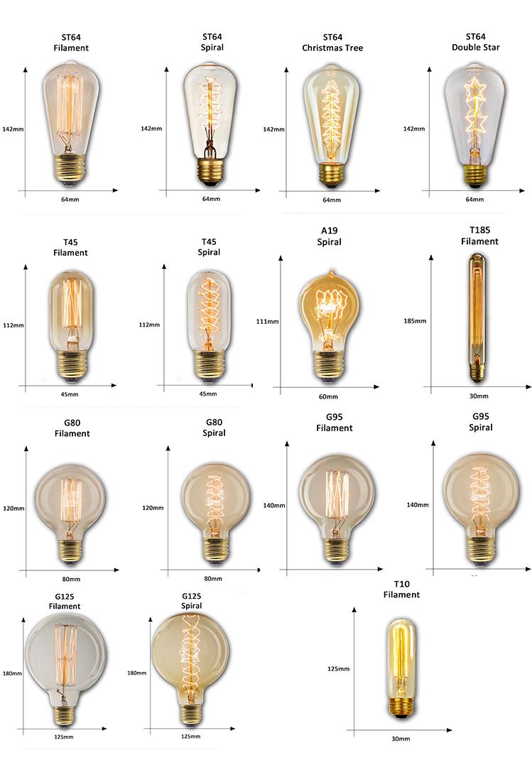 خمر مصابيح كهربائية A110 PS35 عكس الضوء اديسون المصابيح المتوهجة الرجعية دوامة خيوط لمبة