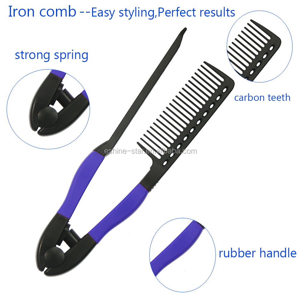 professional salon tool heat resistance hair straightening carbon material easy iron comb