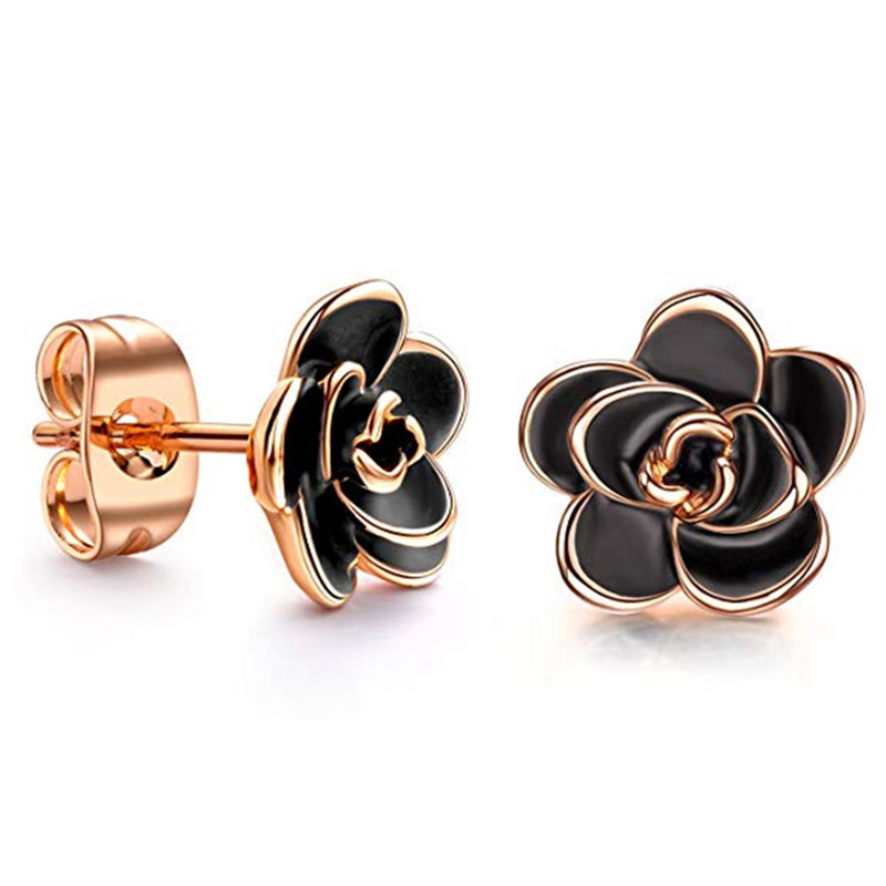New Style 18K Gold Plated Black White <strong>Rose</strong> <strong>Flower</strong> Stud <strong>Earrings</strong> for Women Jewelry Wholesale
