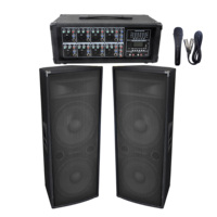 Accuracy Pro Audio PPS8215-BT Dual 2*15'' 2 Way Passive Wooden Speaker And 8 Channels 360W Powered Mixer Sound System